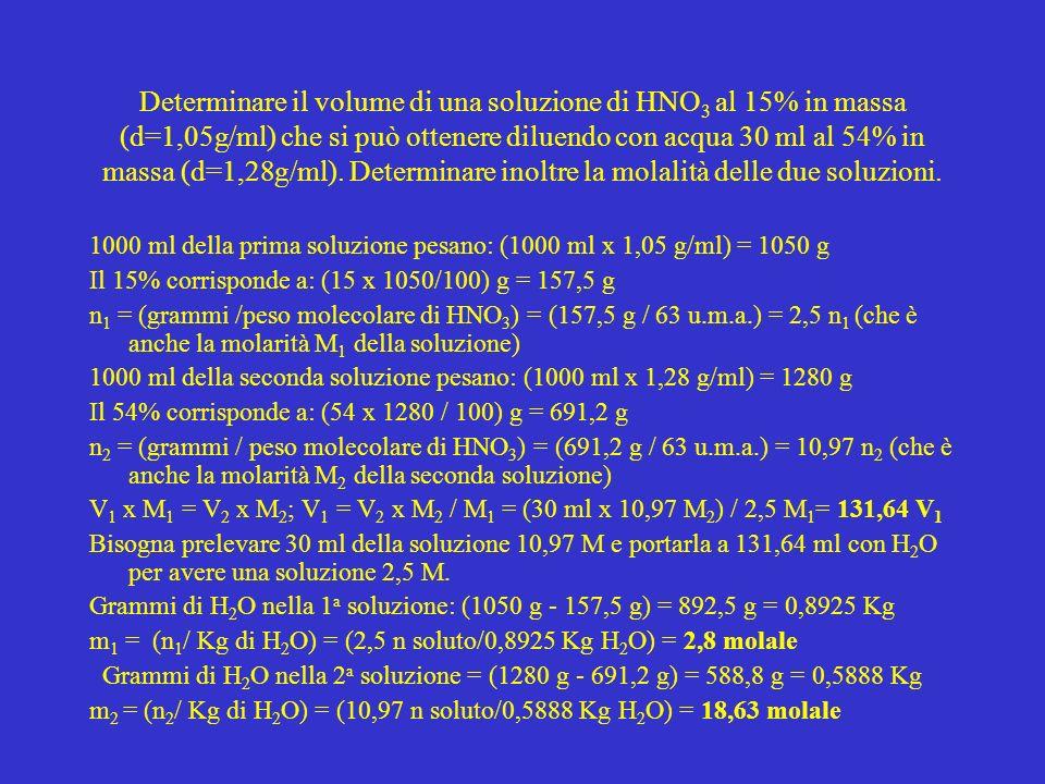 Determinare il volume di una soluzione di HNO3 al 15% in massa (d=1,05g/ml) che si può ottenere diluendo con acqua 30 ml al 54% in massa (d=1,28g/ml). Determinare inoltre la molalità delle due soluzioni.