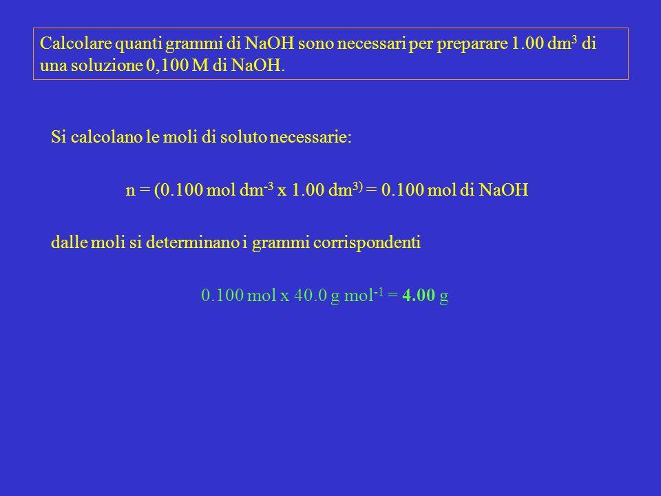 n = (0.100 mol dm-3 x 1.00 dm3) = 0.100 mol di NaOH