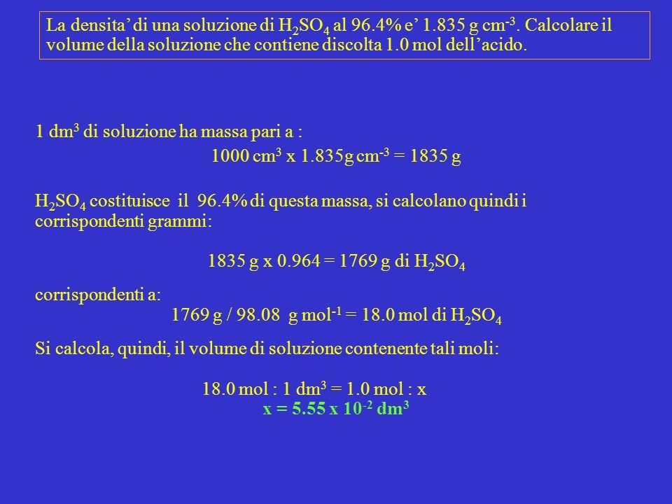 La densita' di una soluzione di H2SO4 al 96. 4% e' 1. 835 g cm-3