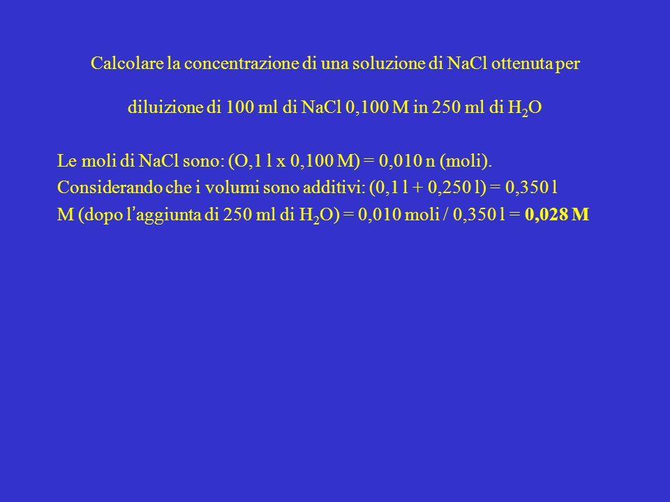 Calcolare la concentrazione di una soluzione di NaCl ottenuta per diluizione di 100 ml di NaCl 0,100 M in 250 ml di H2O