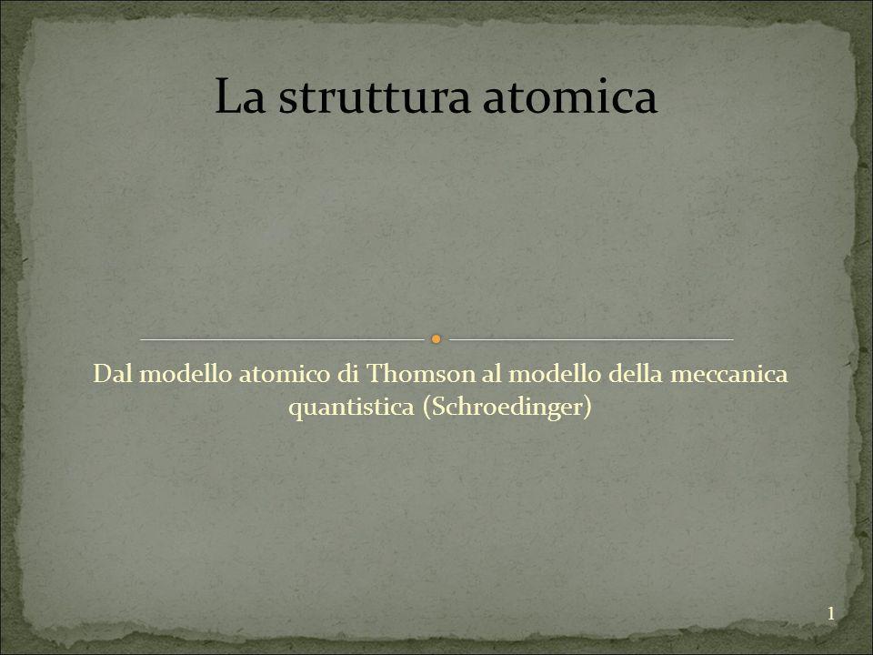 La struttura atomica Dal modello atomico di Thomson al modello della meccanica quantistica (Schroedinger)