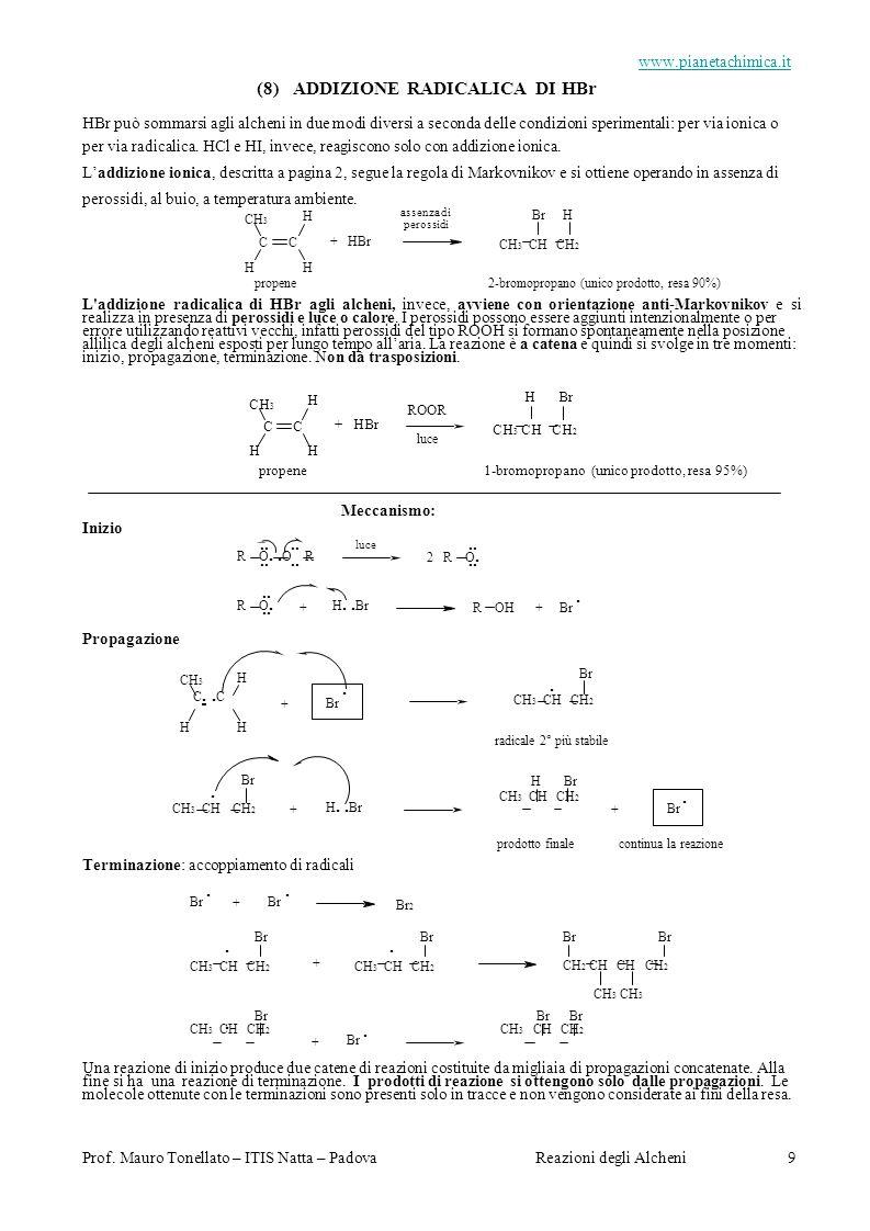 (8) ADDIZIONE RADICALICA DI HBr