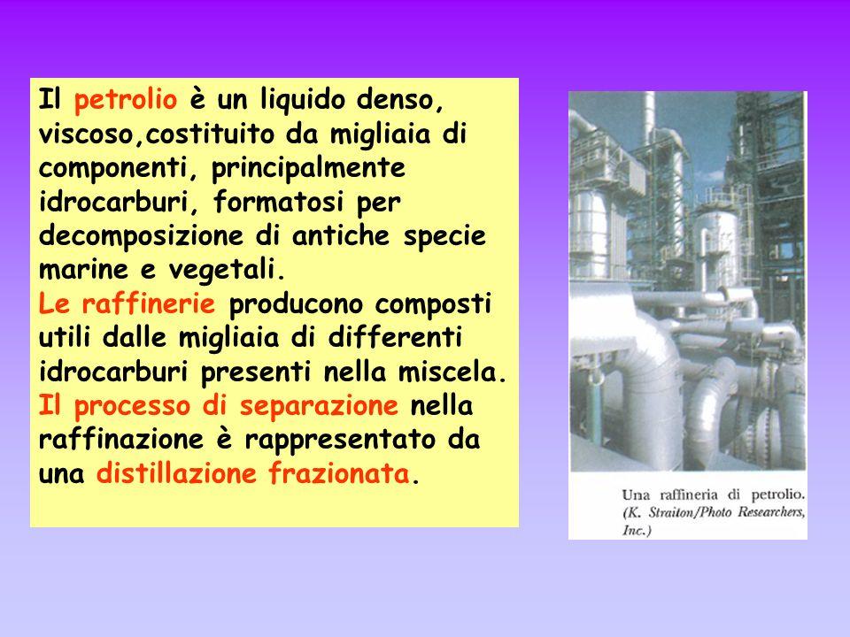 Il petrolio è un liquido denso, viscoso,costituito da migliaia di componenti, principalmente idrocarburi, formatosi per decomposizione di antiche specie marine e vegetali.