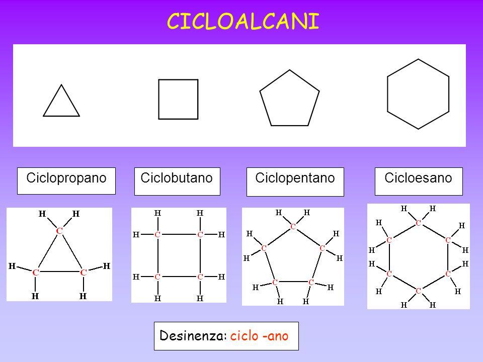 CICLOALCANI Ciclopropano Ciclobutano Ciclopentano Cicloesano