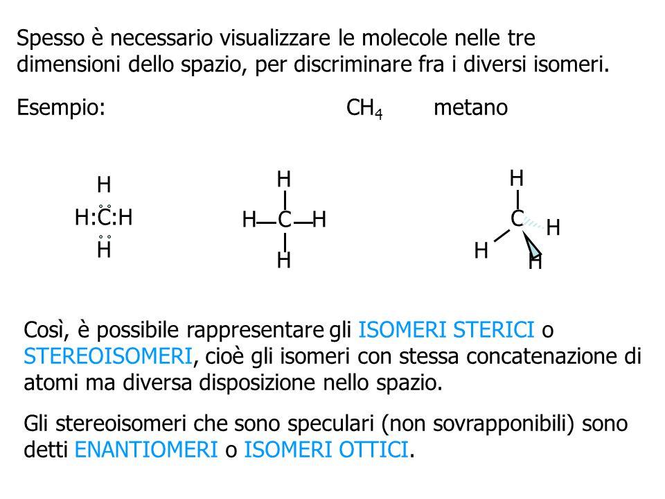 Spesso è necessario visualizzare le molecole nelle tre dimensioni dello spazio, per discriminare fra i diversi isomeri.