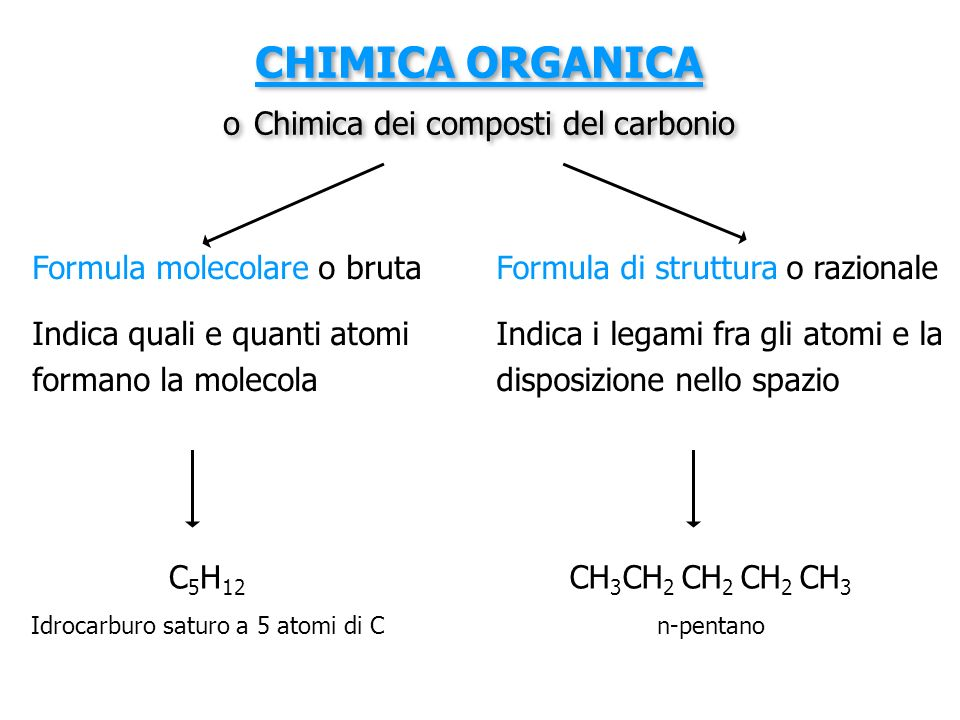 CHIMICA ORGANICA o Chimica dei composti del carbonio