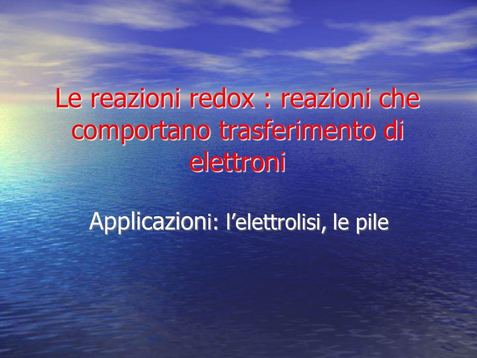 Le reazioni redox : reazioni che comportano trasferimento di elettroni