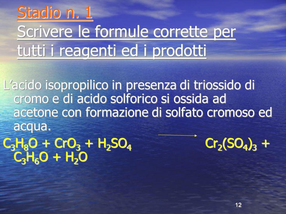 Stadio n. 1 Scrivere le formule corrette per tutti i reagenti ed i prodotti