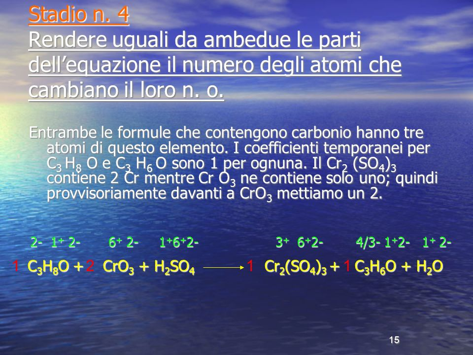 Stadio n. 4 Rendere uguali da ambedue le parti dell'equazione il numero degli atomi che cambiano il loro n. o.