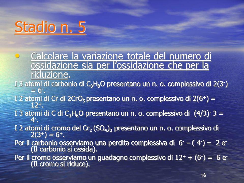 Stadio n. 5 Calcolare la variazione totale del numero di ossidazione sia per l'ossidazione che per la riduzione.