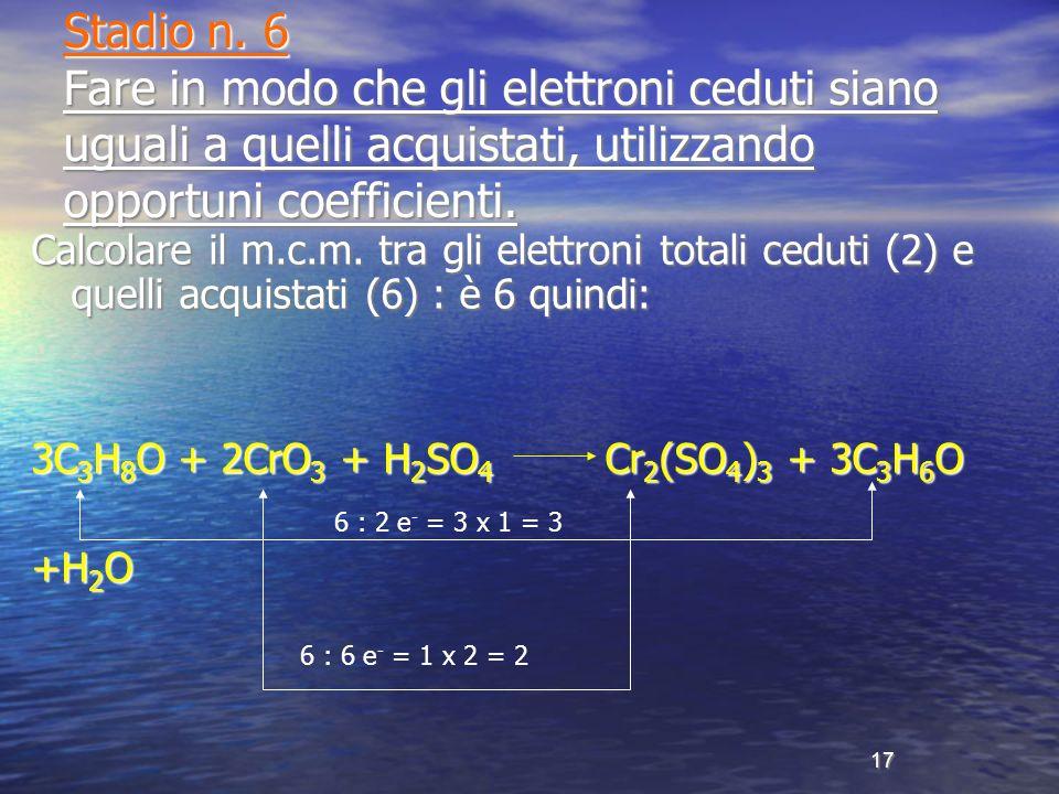 Stadio n. 6 Fare in modo che gli elettroni ceduti siano uguali a quelli acquistati, utilizzando opportuni coefficienti.