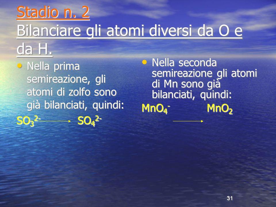 Stadio n. 2 Bilanciare gli atomi diversi da O e da H.