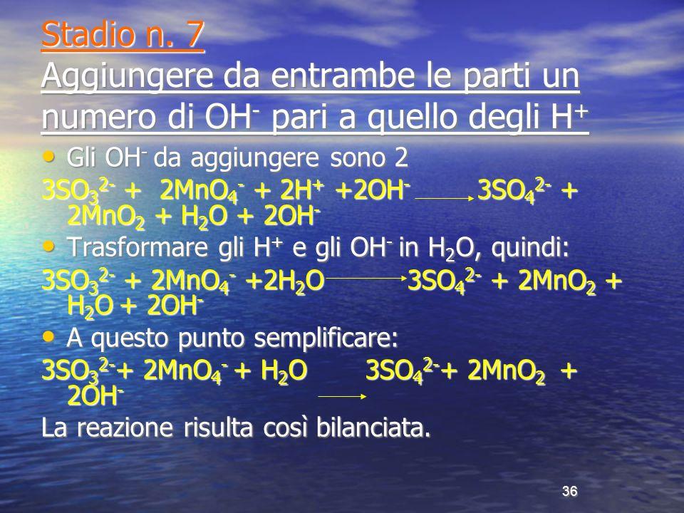 Stadio n. 7 Aggiungere da entrambe le parti un numero di OH- pari a quello degli H+