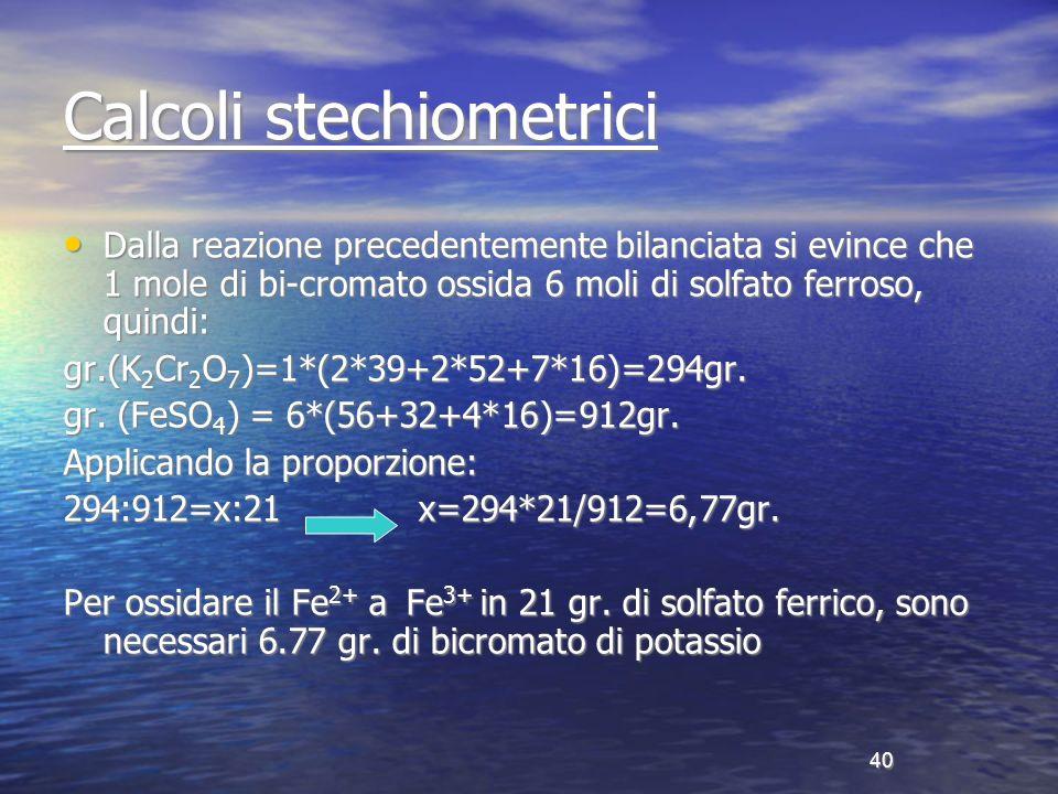 Calcoli stechiometrici