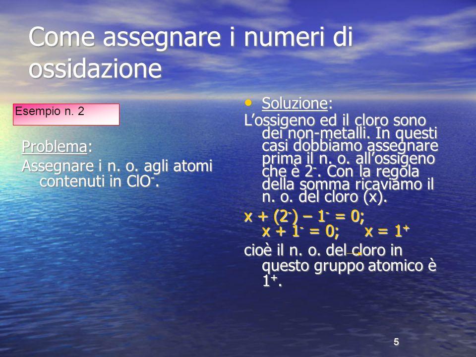 Come assegnare i numeri di ossidazione