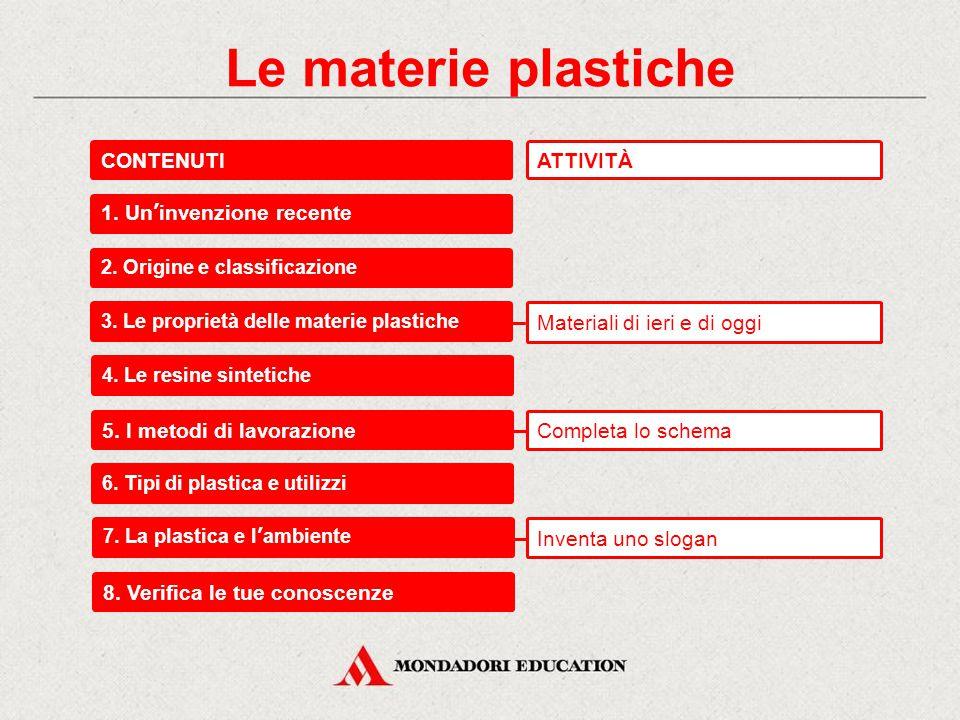 Le materie plastiche CONTENUTI ATTIVITÀ 1. Un'invenzione recente
