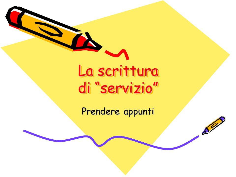 La scrittura di servizio