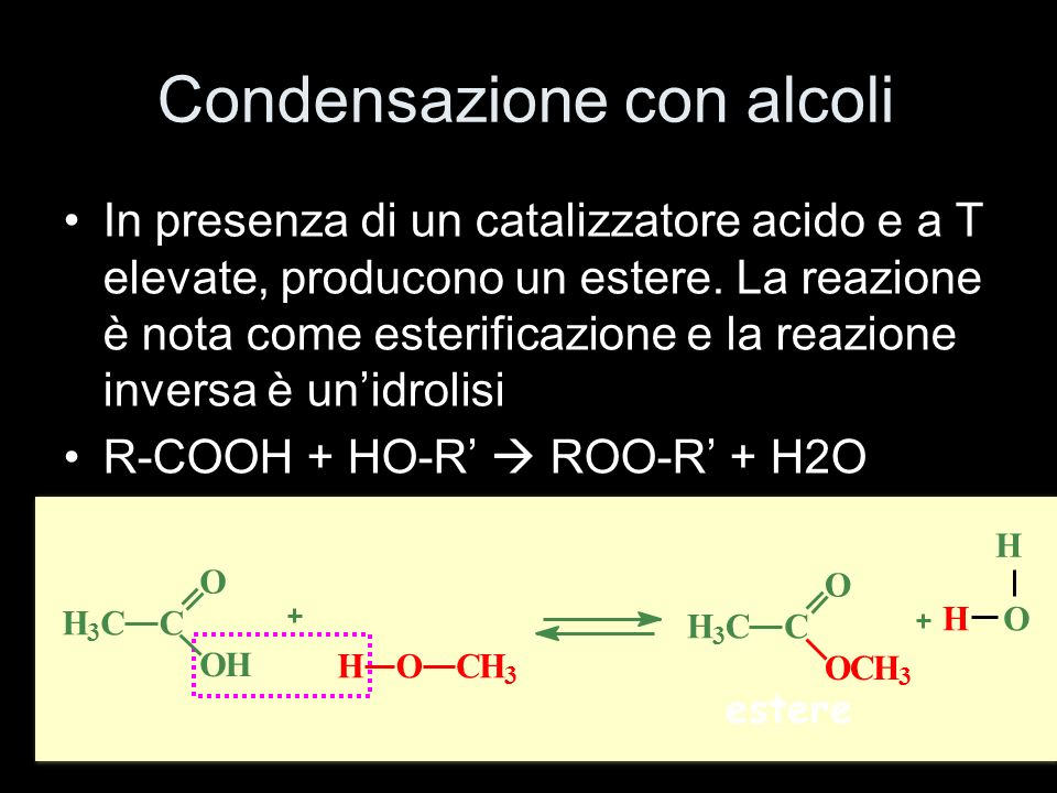 Condensazione con alcoli