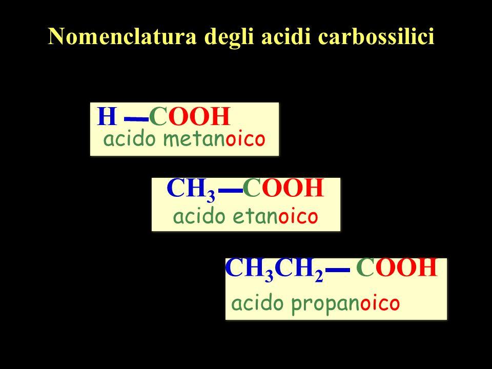 COOH H CH3 COOH CH3CH2 COOH Nomenclatura degli acidi carbossilici