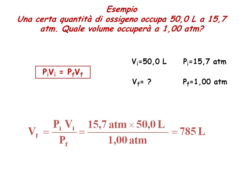 Esempio Una certa quantità di ossigeno occupa 50,0 L a 15,7 atm. Quale volume occuperà a 1,00 atm Vi=50,0 L.