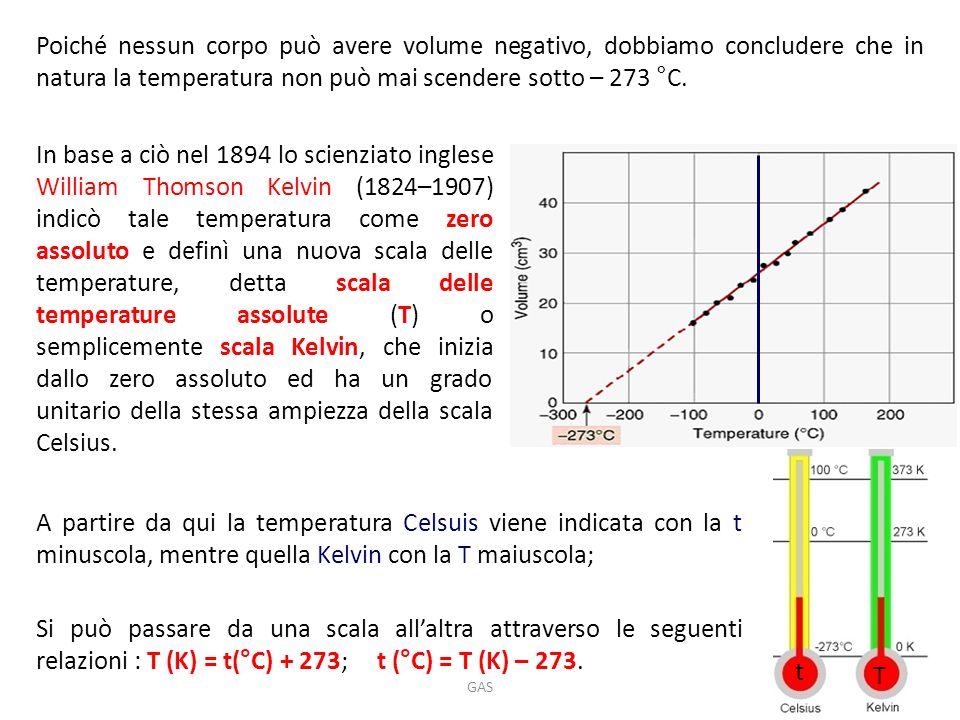 Poiché nessun corpo può avere volume negativo, dobbiamo concludere che in natura la temperatura non può mai scendere sotto – 273 °C.