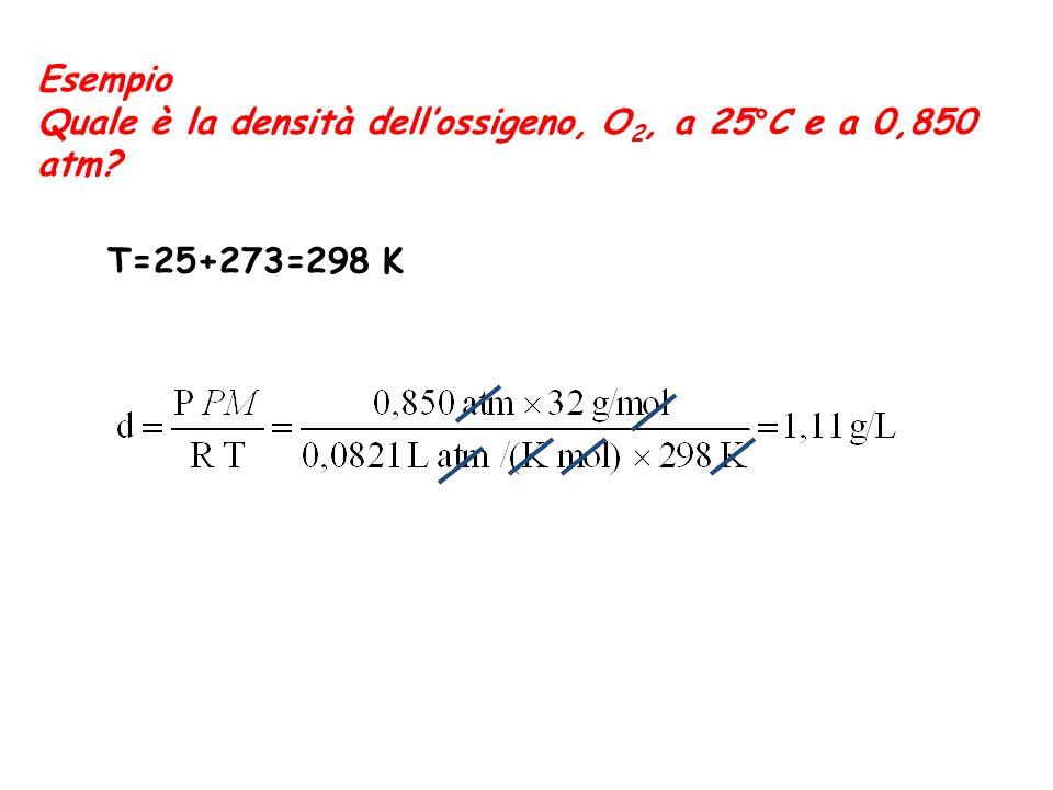Esempio Quale è la densità dell'ossigeno, O2, a 25°C e a 0,850 atm T=25+273=298 K