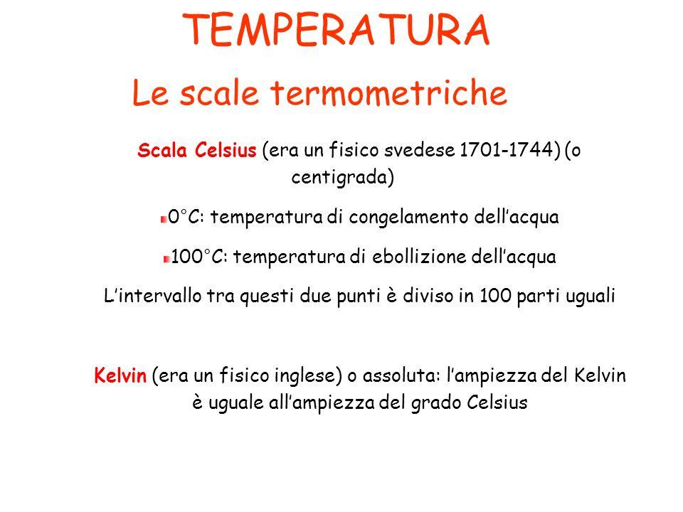 TEMPERATURA Le scale termometriche