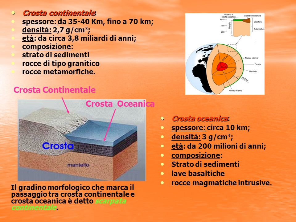 Crosta Continentale Crosta Oceanica Crosta continentale: