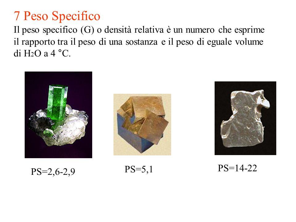 7 Peso SpecificoIl peso specifico (G) o densità relativa è un numero che esprime. il rapporto tra il peso di una sostanza e il peso di eguale volume.