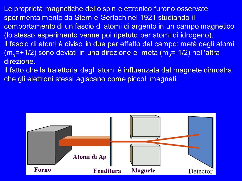 Le proprietà magnetiche dello spin elettronico furono osservate sperimentalmente da Stern e Gerlach nel 1921 studiando il comportamento di un fascio di atomi di argento in un campo magnetico (lo stesso esperimento venne poi ripetuto per atomi di idrogeno).