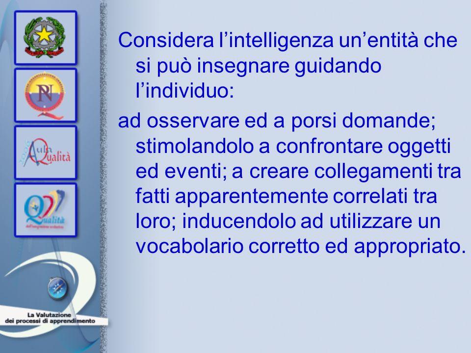 Considera l'intelligenza un'entità che si può insegnare guidando l'individuo: