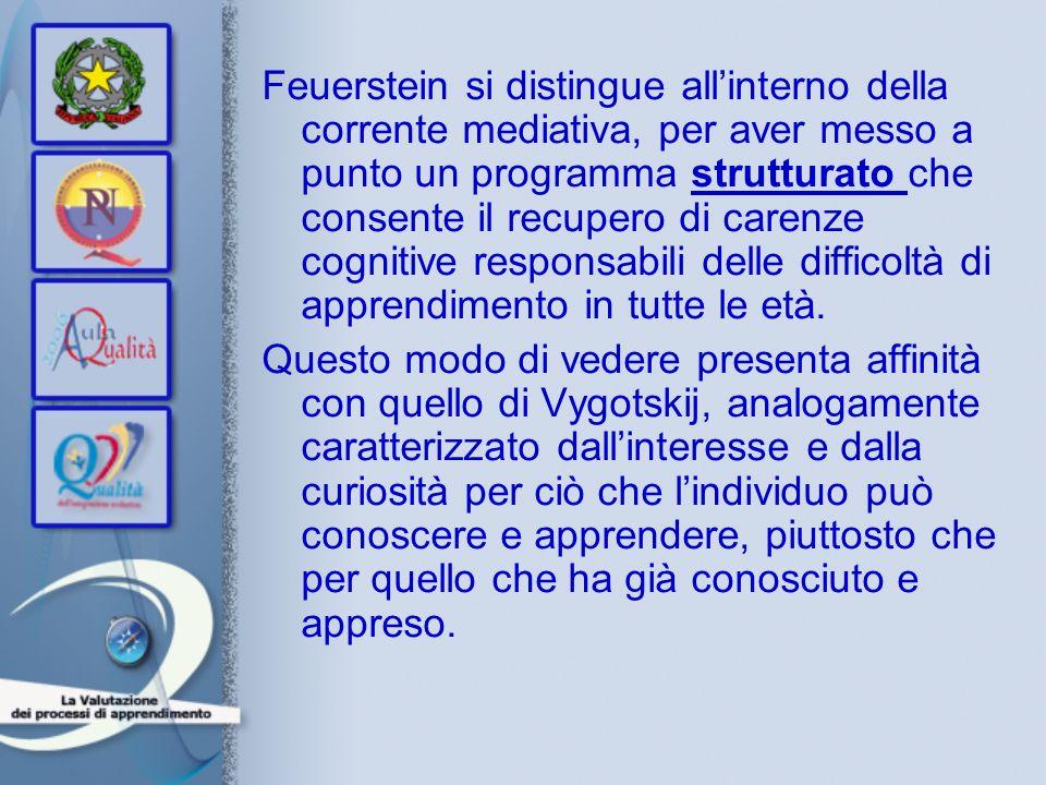 Feuerstein si distingue all'interno della corrente mediativa, per aver messo a punto un programma strutturato che consente il recupero di carenze cognitive responsabili delle difficoltà di apprendimento in tutte le età.