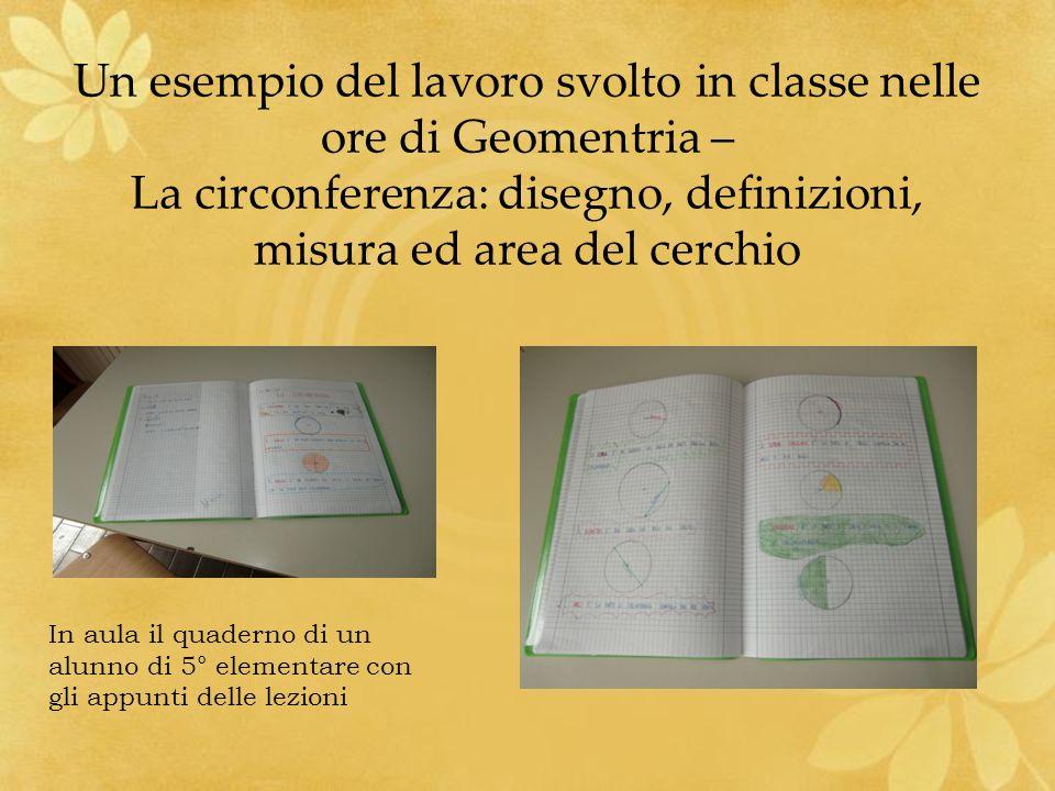 Un esempio del lavoro svolto in classe nelle ore di Geomentria – La circonferenza: disegno, definizioni, misura ed area del cerchio