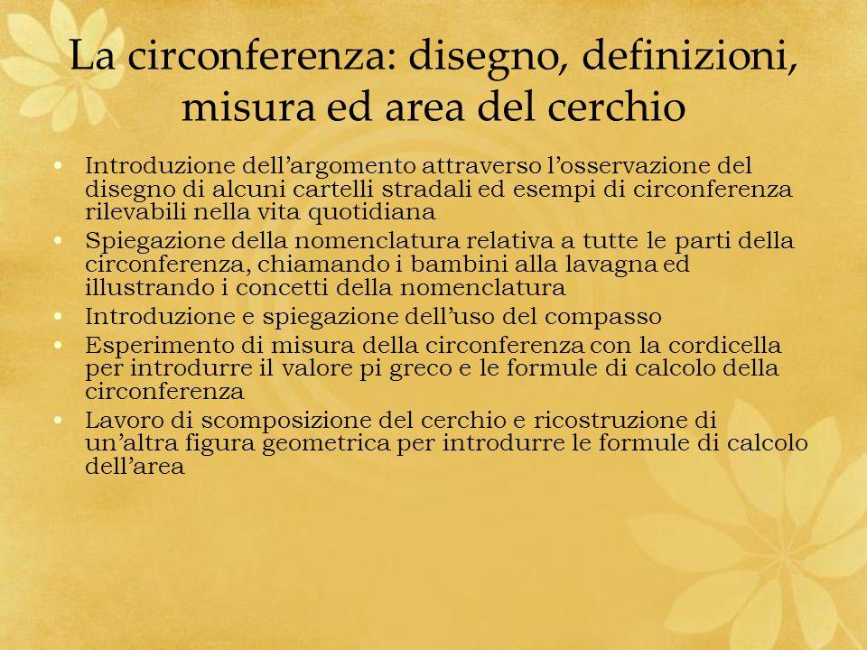 La circonferenza: disegno, definizioni, misura ed area del cerchio