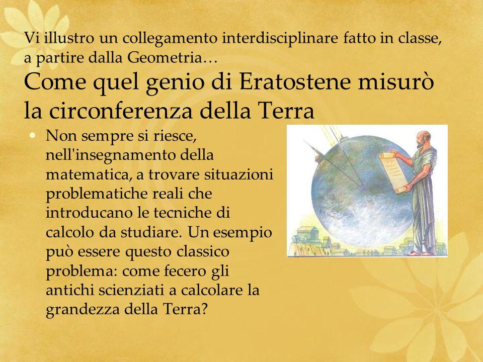 Vi illustro un collegamento interdisciplinare fatto in classe, a partire dalla Geometria… Come quel genio di Eratostene misurò la circonferenza della Terra