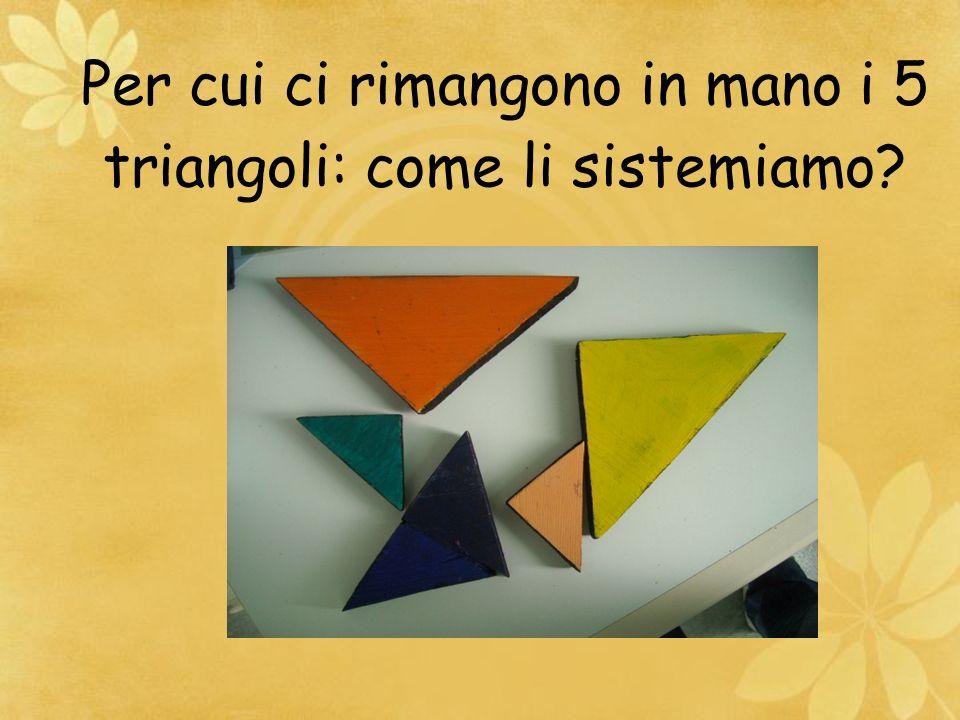 Per cui ci rimangono in mano i 5 triangoli: come li sistemiamo