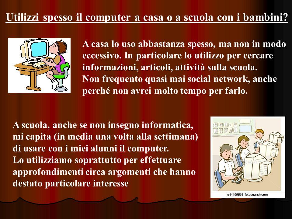 Utilizzi spesso il computer a casa o a scuola con i bambini