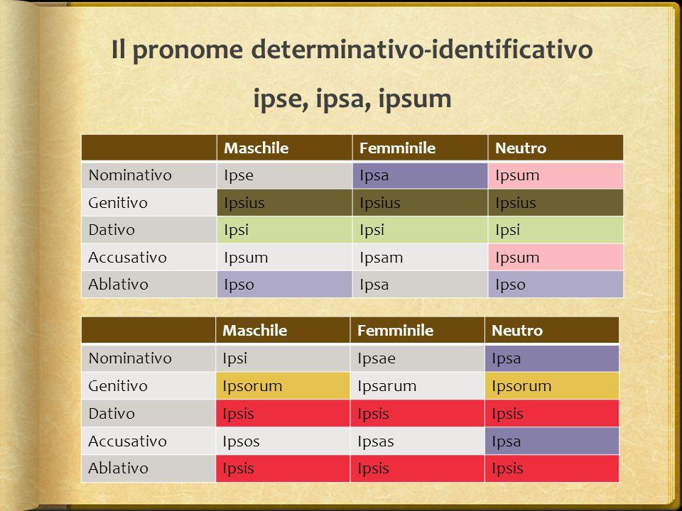 Il pronome determinativo-identificativo ipse, ipsa, ipsum