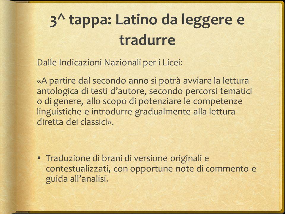 3^ tappa: Latino da leggere e tradurre