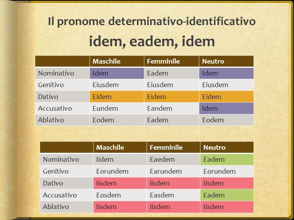 Il pronome determinativo-identificativo idem, eadem, idem