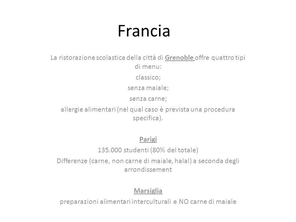 Francia La ristorazione scolastica della città di Grenoble offre quattro tipi di menu: classico; senza maiale;