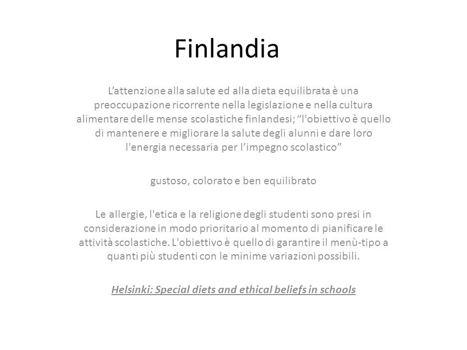 Helsinki: Special diets and ethical beliefs in schools