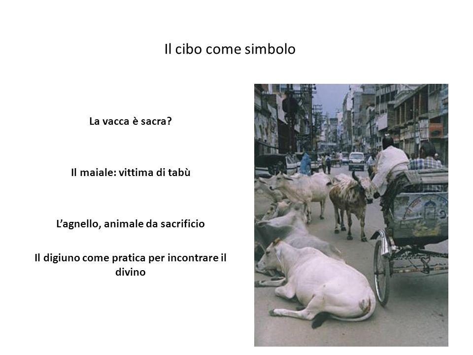 Il cibo come simbolo La vacca è sacra Il maiale: vittima di tabù