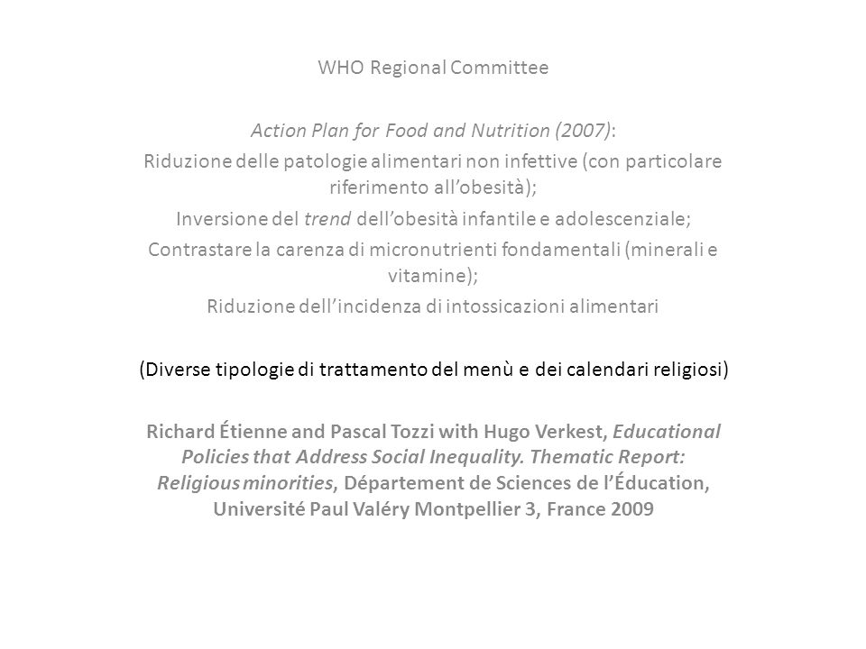 WHO Regional Committee Action Plan for Food and Nutrition (2007):