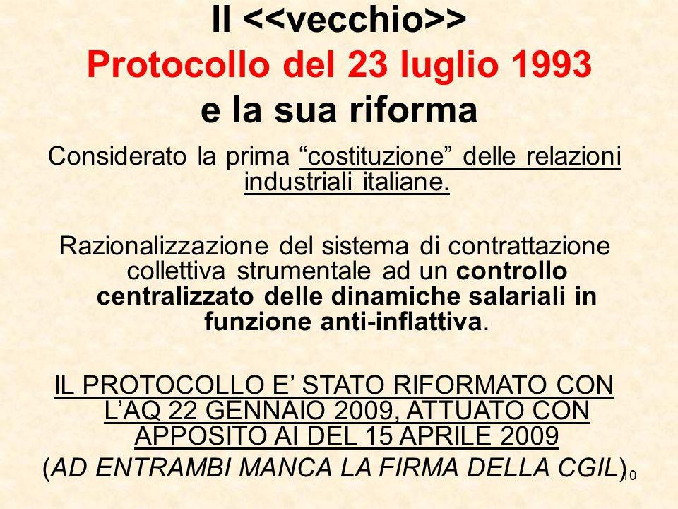 Il <<vecchio>> Protocollo del 23 luglio 1993