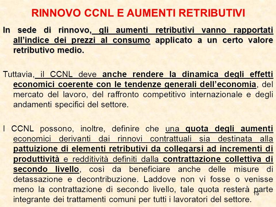 RINNOVO CCNL E AUMENTI RETRIBUTIVI