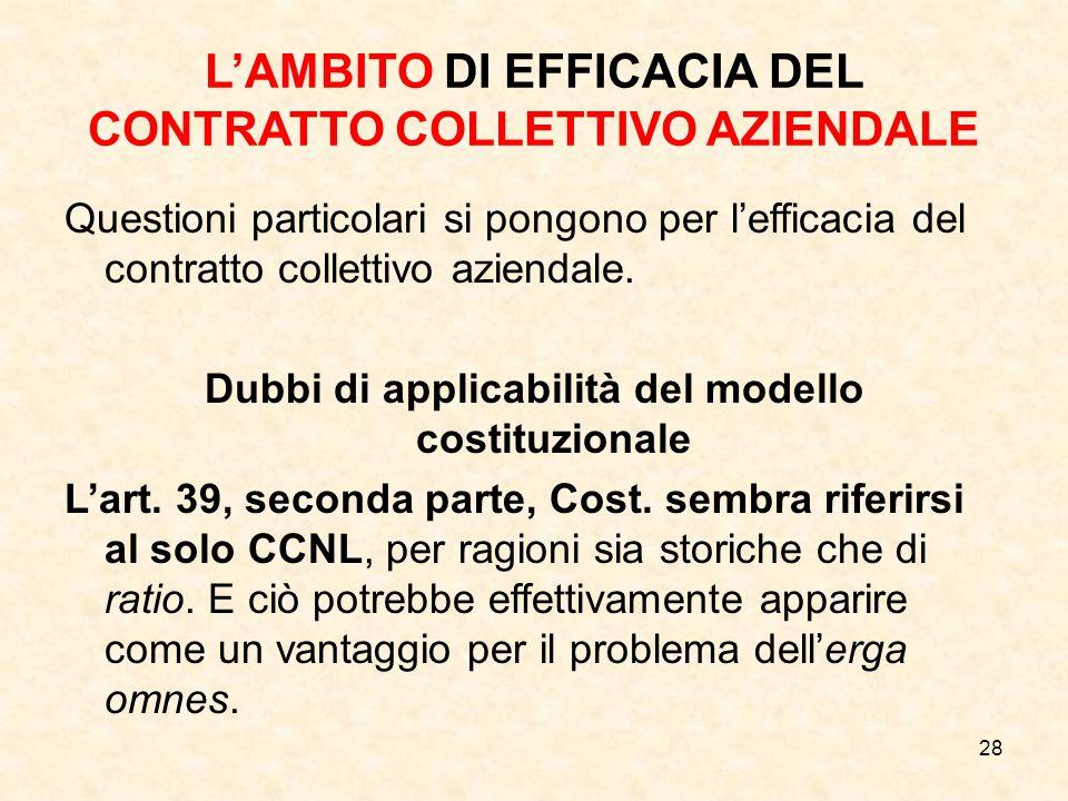 L'AMBITO DI EFFICACIA DEL CONTRATTO COLLETTIVO AZIENDALE