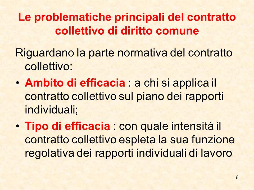Le problematiche principali del contratto collettivo di diritto comune