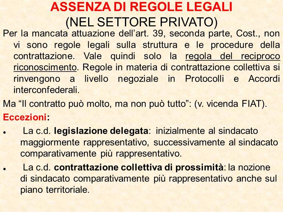 ASSENZA DI REGOLE LEGALI