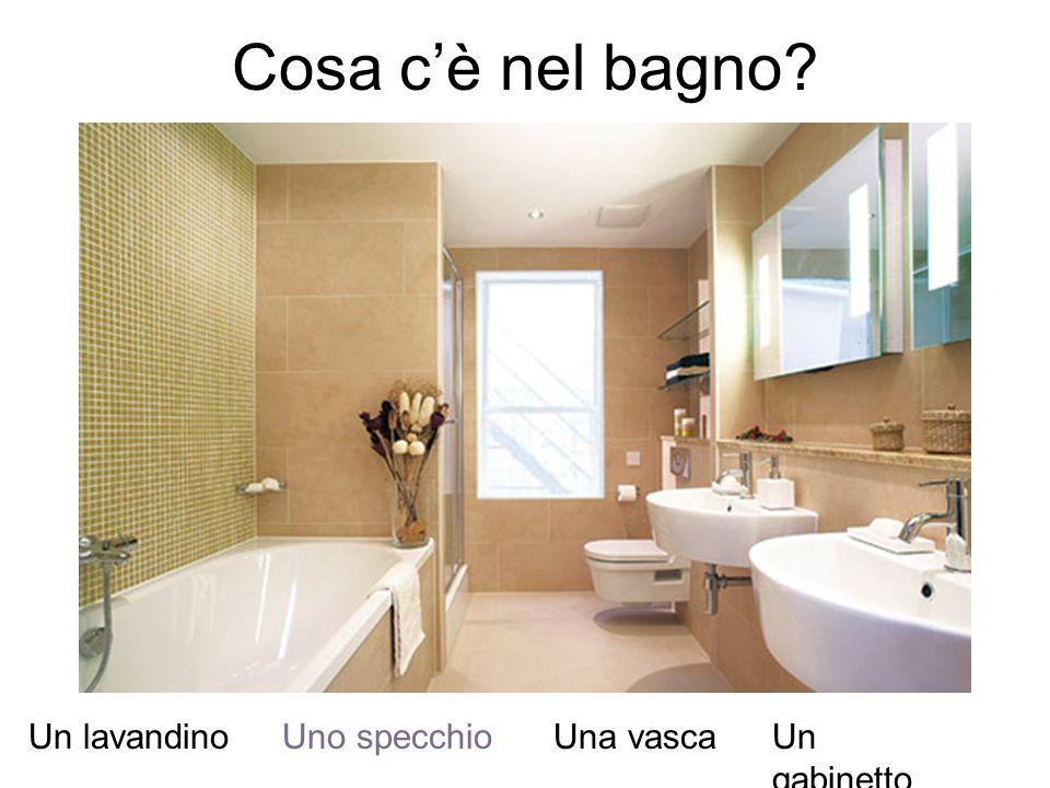 Cosa c'è nel bagno Un lavandino Uno specchio Una vasca Un gabinetto